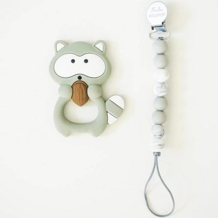 Loulou Lollipop Grey Raccoon Teether with Holder