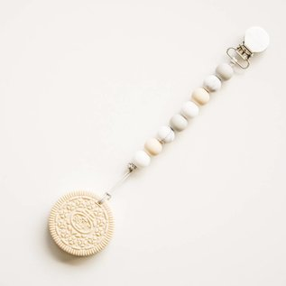 Loulou Lollipop Cream Cookie Teether with Holder, Marble Neutral