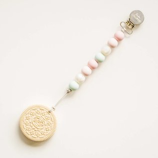 Loulou Lollipop Cream Cookie Teether with Holder, Blue Pink