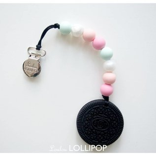 Loulou Lollipop Chocolate Cookie Teether with Holder, Pink Mint