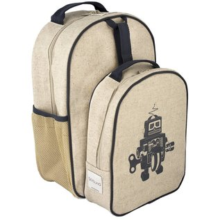 SoYoung Grey Robot Raw Linen Little Lunchbox
