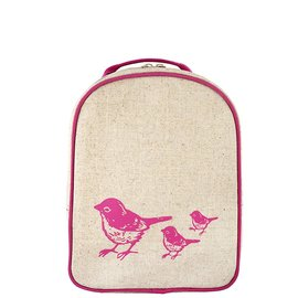 SoYoung Pink Birds Raw Linen Little Lunchbox
