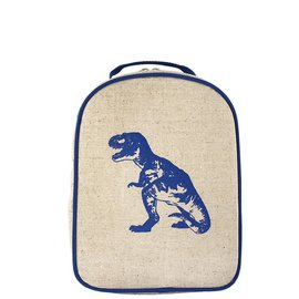 SoYoung Blue Dino Raw Linen Little Lunchbox