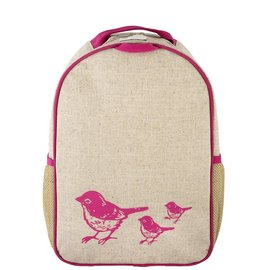SoYoung Pink Birds Raw Linen Toddler Backpack