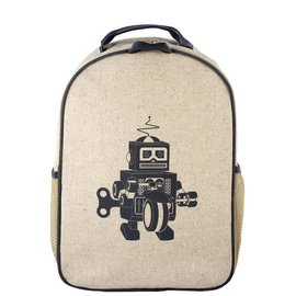 SoYoung Grey Robot Raw Linen Toddler Backpack