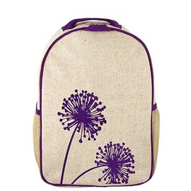 SoYoung Purple Dandelion Raw Linen Toddler Backpack