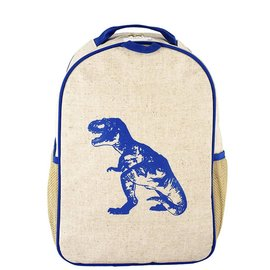 SoYoung Blue Dino Raw Linen Toddler Backpack