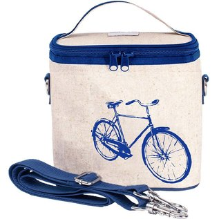 SoYoung Blue Bicycle Raw Linen Large Cooler Bag