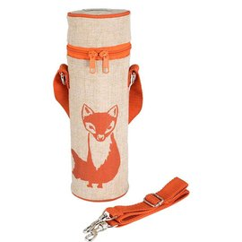 SoYoung Orange Fox Raw Linen Water Bottle Bag