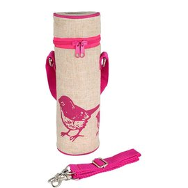 SoYoung Pink Birds Raw Linen Water Bottle Bag