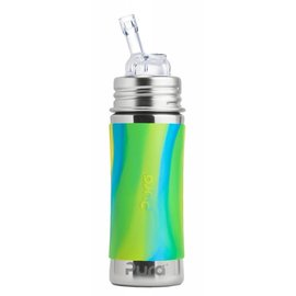 Pura Kiki Aqua Swirl Stainless Pura Straw Bottle
