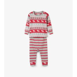 Hatley Fair Isle Moose Organic Cotton Baby PJ Set