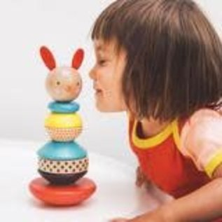 Petit Collage Rabbit Wood Stacking Toy