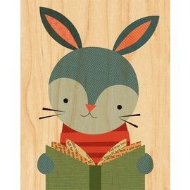 Petit Collage Reading Rabbit Print on Wood