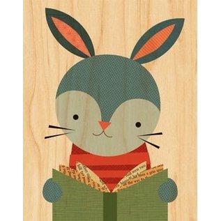 Petit Collage Reading Rabbit Print on Wood