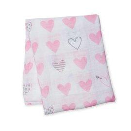 Lulujo Pink Hearts Cotton Muslin Swaddle