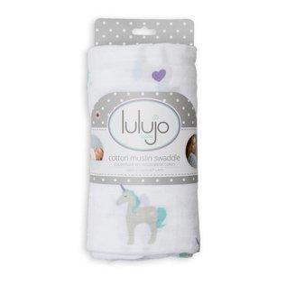 Lulujo Unicorns Cotton Muslin Swaddle