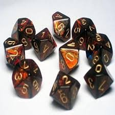 Chessex Chessex Scarab: Poly D10 Blue/Blood/Gold (10) DICE