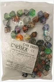 Chessex Gemini: Poly D10 Numbers Assorted Bag of Dice (50)