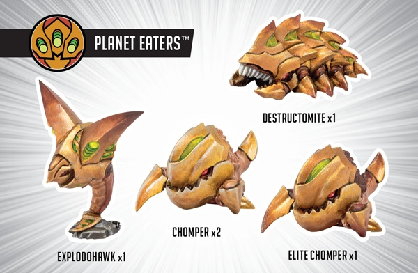 Privateer Press Monsterpocalypse: Chompers, destructomite, explodohawk Planet Eaters