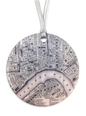Vintage NOLA Map Ornament