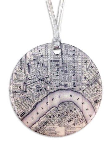 Vintage NOLA Map Ornament
