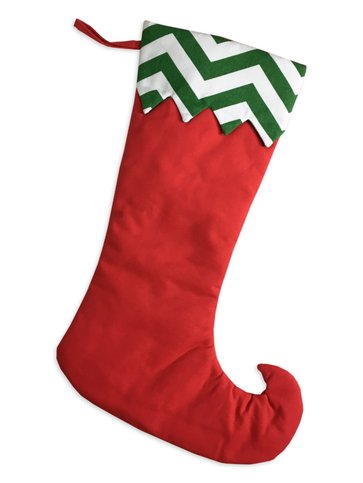 christmas stocking long redgreen chevron trim stocking - Girl Christmas Stocking