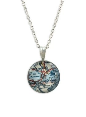 Necklace, Pewter, New Orleans Map