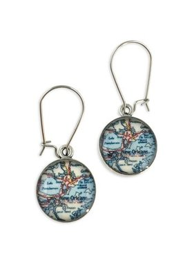 Earring, Pewter, New Orleans Map