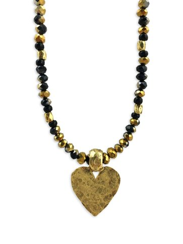 Black & Gold Crystal Heart Necklace