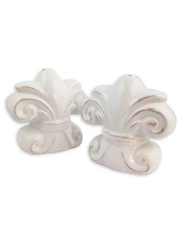 Fleur de Lis Salt & Pepper Shaker Set, White