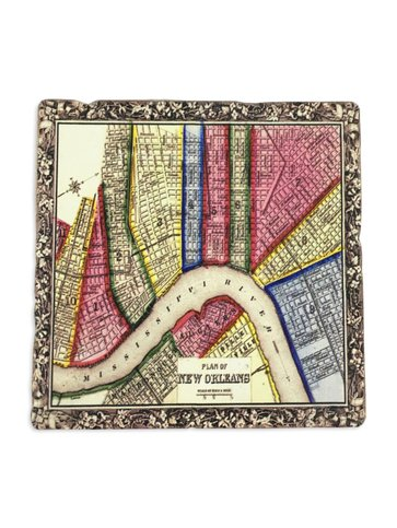 New Orleans Map Colorful Coaster,  4x4
