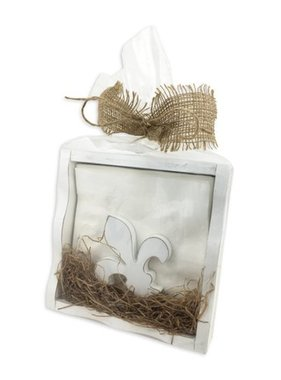 Home, White Distressed Napkin Box W/FDL