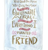 Primitives by Kathy Drink Too Much Morals Towel, Pink