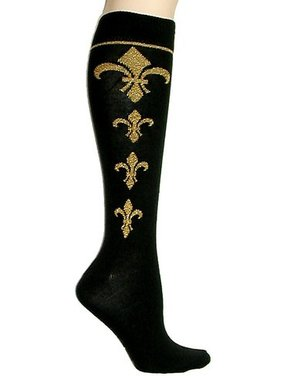Socks, Fleur De Lis KNEE HIGH, Black And Gold