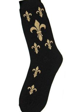 Socks, Fleur De Lis, Black And Gold