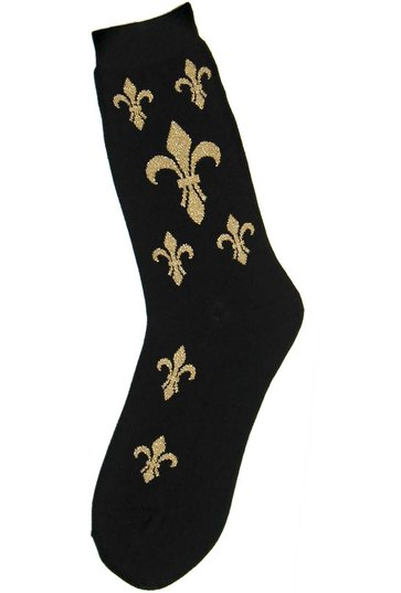 Fleur de Lis Women's Socks in Black and Gold