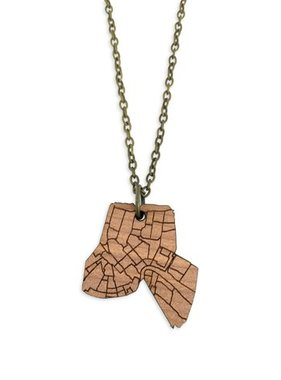 Neighborwoods Aromatic Cedar New Orleans Map Necklace