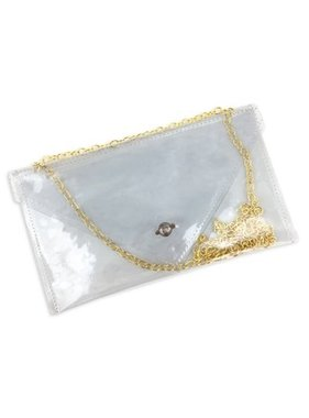 Clear Purse with Gold Chain Strap, NFL Compliant