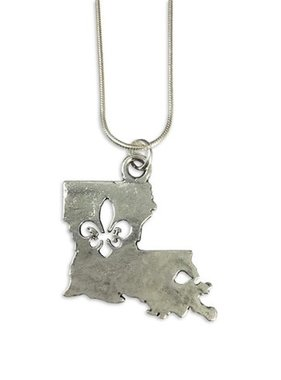 Hammered Louisiana Fleur de Lis Necklace, Silver