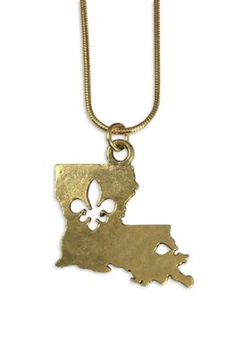 Hammered Louisiana Fleur de Lis Necklace, Gold