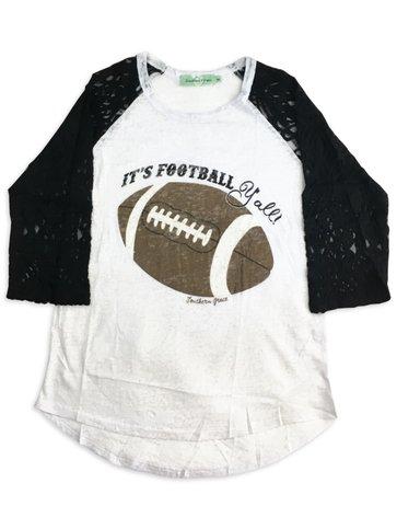 Football Y'all Lace Long Sleeve Tee