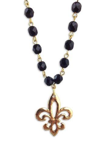 Fleur de Lis Black Bead Chain Necklace