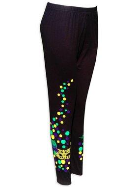Mardi Gras, Leggings, Polka Dot & Mask, One Size