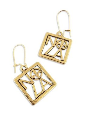 Square NOLA Fleur de Lis Earrings, Gold