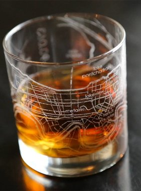 New Orleans Map Rocks Glass