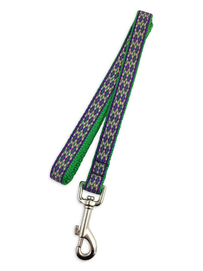 Mardi Gras Diamond Pet Leash, Skinny