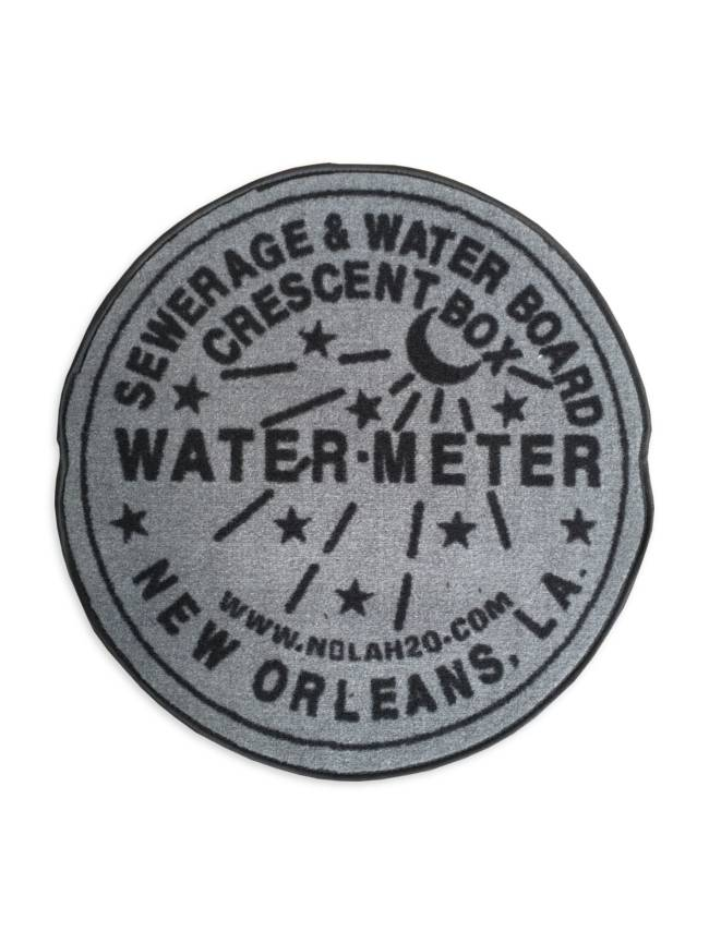 Fleurty Girl Indoor New Orleans Water Meter Rug, Grey