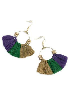Mardi Gras Gold Hoop & Tassel Earrings