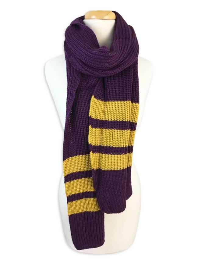 Purple & Gold Knit Scarf
